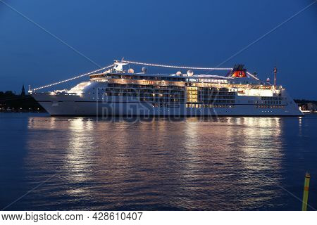 Stockholm, Sweden - August 22, 2018: Europa 2 Cruise Ship In Stockholm, Sweden. Europa 2 Was Built B