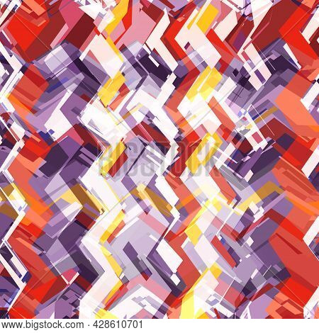 Bright Abstract Vector Background. Mosaic Colored Pattern Of Zigzags, Curly Lines And Fragments. A C