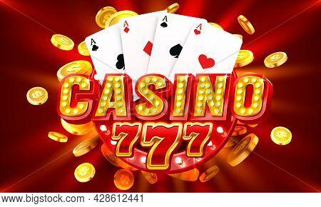 Casino Free Spin 777 Label Frame, Golden Banner, Border Winner, Vegas Game. Vector