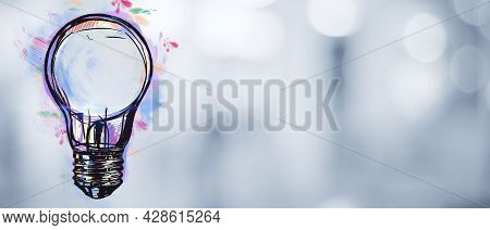 Creative Light Bulb Sketch On Blurry Bokeh Background With Mock Up Place. Idea And Inspiration Conce