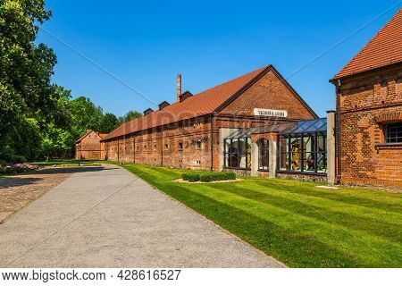 Goluchow, Great Poland - 23 May 2016: The Building Of The Forestry Museum. Old Red Brick, Former Far