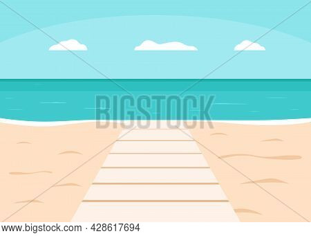 Boardwalk Or Walkway On Sea And Beach For Vacation. Summer Outdoor Deck, Pier. Seashore And Beach Wi