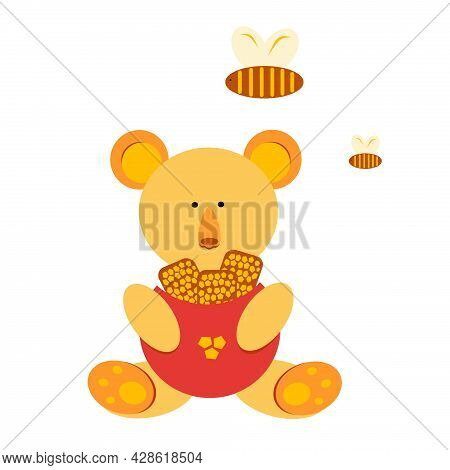 Children's Illustration Of A Bear With Honey. Bees. Honey. The Bear Holds The Honeycomb. The Bees Su