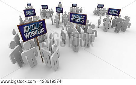No-Collar Workers Employees New Generation Workforce 3d Illustration