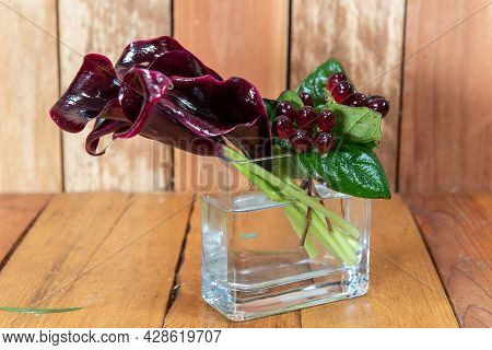 Beautiful Bouquet Of Arranged Deep Purple Calla Lilies Flowers In A Clear Vase Given As An Emotional