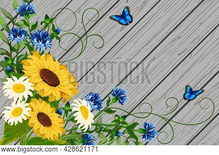 Illustration With Sunflowers And Cornflowers.cornflowers, Sunflowers And Daisies On A Wooden Backgro