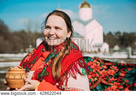 Gomel, Belarus - March 13, 2021: Portrait Of Unknown Beautiful Young Woman Girl With Headscarf On He