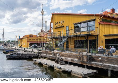 Stockholm, Sweden - July 20, 2021: Beautiful Idyllic Summer View Of The Famous Luxury Restaurant Oax