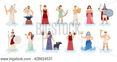 Olympic Greek Or Roman Gods And Goddesses, Flat Vector Illustration Isolated.