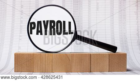 Against The Background Of Reports On Wooden Cubes - A Magnifying Glass With The Text Payroll. Busine