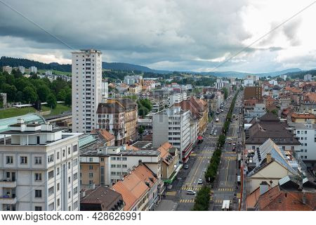 La-chaux-de-fonds, Switzerland - July 7th 2021: Main Arterial Road Through The City Centre