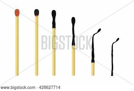 Burnt Wooden Matches Set. Cartoon Safety Matches. Unused, Burning, Burnt Matchsticks. Varying Degree