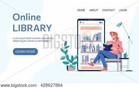 Online Library, E-book Reading Landing Page Or Web Page Template. Vector Illustration Virtual Librar