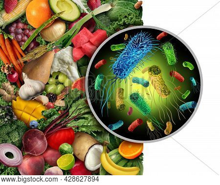 Contaminated Fruit And Vegetables As Infectious Bacteria And Contagious Germs As Salmonella Or Liste