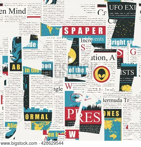 Abstract Seamless Pattern With A Collage Of Colored Magazine And Newspaper Clippings. Vector Backgro