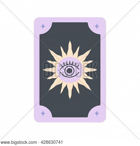 Black And Purple Tarot Card With Eye And Sun Symbol, Magic Occult Tarot Card Isolated On White Backg