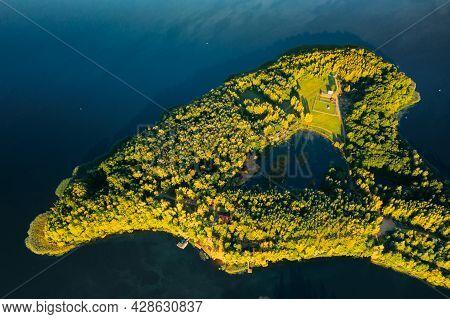 Novoe Lyadno, Beloozerny District, Vitebsk Region, Belarus. Aerial View Of Tourist Complex Pension L