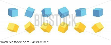 3d Cube. 3d Box In Front. Color Cubic Blocks. Square Mockup With Perspective Render. Blank Cardboard