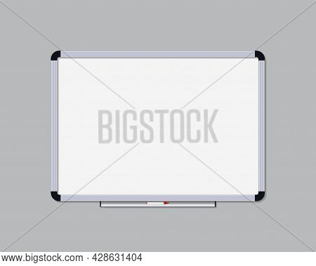 Whiteboard With Marker. Board For Office, School And Class. Whiteboard With Frame For Presentation A