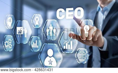 Chief Executive Officer Ceo Concept. Businessman Hand Touching Ceo On Virtual Screen