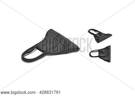 Blank Black Fabric Folded Face Mask Mockup Lying, Different Views, 3d Rendering. Empty Protect Banda