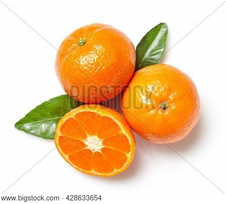 Fresh Clementines Isolated On White Background, Top View