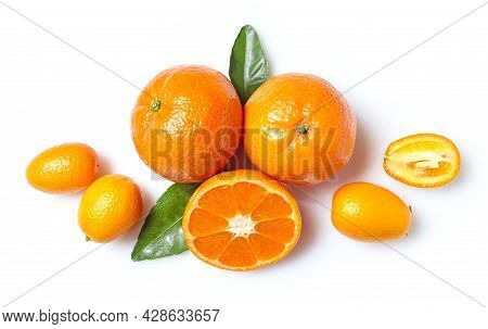 Fresh Clementines And Kumquats Isolated On White Background, Top View