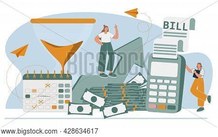 Cost Optimization Concept Set. Idea Of Financial And Marketing Strategy. Cost And Income Balance. Sp