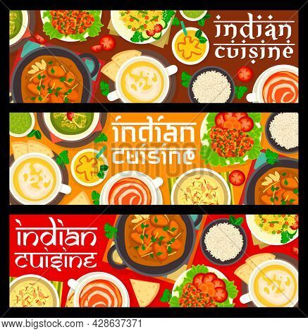 Indian Cuisine Meals Banners. Lassi Yogurt Drink, Pulao Rice And Tomato Cream Soup, Chicken With Spi