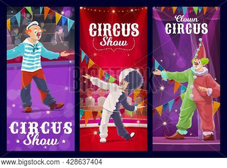 Shapito Circus Clowns, Jesters And Harlequin Characters. Cartoon Vector Artists Or Performers On Big