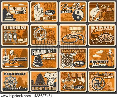 Buddhism Religion, Buddha Meditation And Zen Yoga, Buddhist Symbols And Vector Vintage Posters. Budd