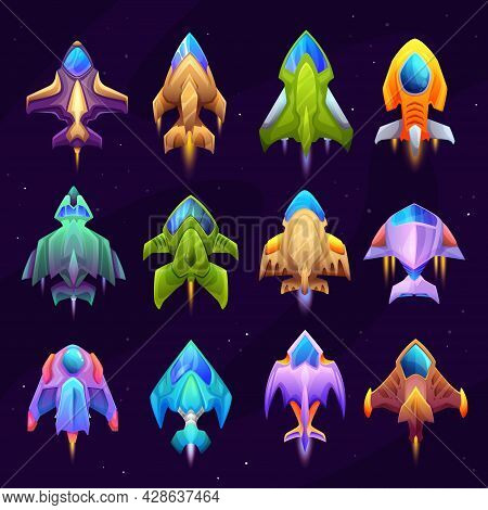 Cartoon Starship, Spacecraft And Spaceship Icons. Vector Rockets, Fantasy Vehicles For Travel In Out