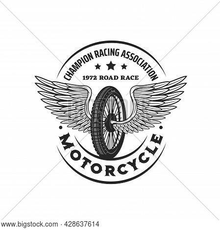 Bike Wheel With Wings. Racing Icon. Motorsport Championship Association, Motocross Motorcycle Race C