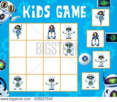 Robots Sudoku Game. Kids Maze, Logical Riddle Or Educational Puzzle, Rebus For Children With Cute Ro