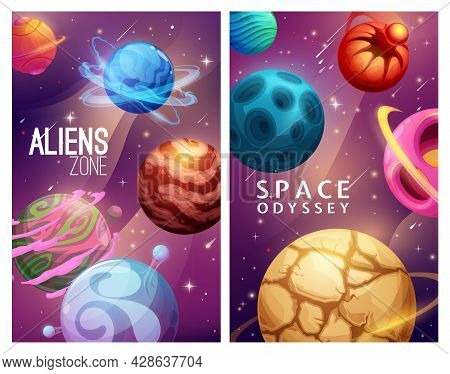 Aliens Zone And Space Odyssey. Cartoon Galaxy Planets And Stars. Science Fiction Worlds, Vector Alie