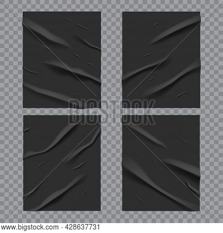 Black Glued Wet Posters With Wrinkled And Crumpled Paper Texture, Vector. Black Posters Glued With W