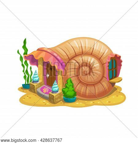 Fairy Snail Shell House Or Dwelling Of Sorceress Or Sea Mermaid. Vector Fairytale Undersea Conch Hom