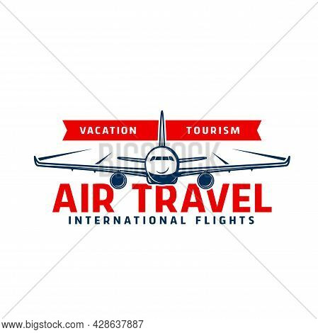 Air Travel Icon Of Vector Plane Flying In Sky, Airline Flights, Tourism, Aircraft And Aviation Desig
