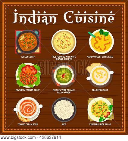 Indian Cuisine Menu. Turkey Curry, Rice Pudding Chawal Ki Kheer And Mango Yogurt Lassi, Prawn In Tom