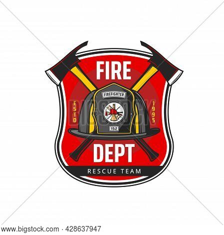 Fire Department Icon With Vector Fireman Or Firefighter Helmet And Crossed Axes, Ladder And Hook. Fi