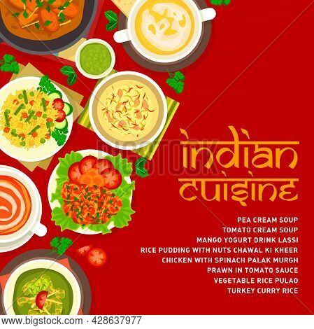 Indian Cuisine Menu Cover Template. Rice Pudding With Nuts Chawal Ki Kheer, Prawn In Tomato Sauce An