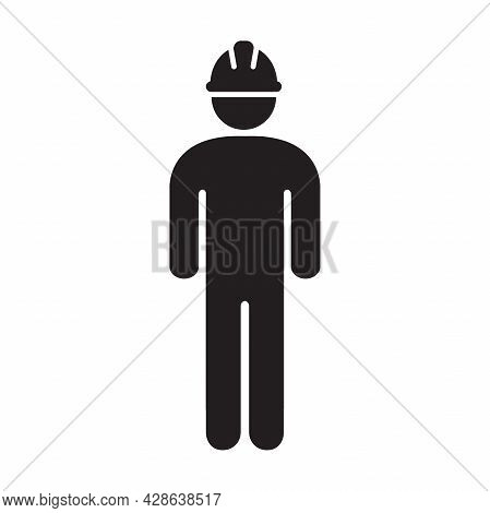 Worker Building Construction Icon Vector Workman With Hardhat Helmet For Your Web Site Design, Logo,