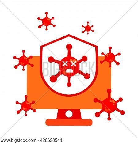 Virus With Computer And Shield Illustration Design. Pandemic Virus Protection Illustration. Virus Il