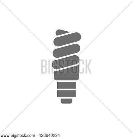 Energy Saving Lamp, Utilization Of Light Bulb Gray Icon.