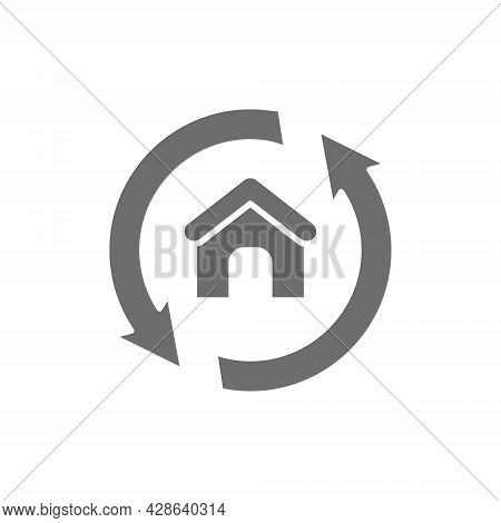 House Remodeling, Redevelopment, Repair Home Grey Icon.