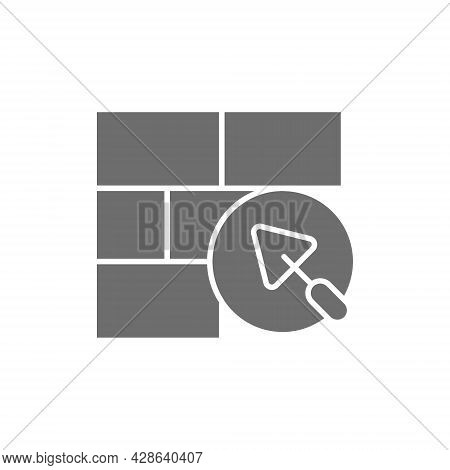 Brick Wall With Putty Knife, Repair Bricklaying, Construction Grey Icon.