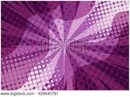 Abstract Purple Striped Retro Comic Background With Halftone Corners And Wavy Shapes. Cartoon Violet