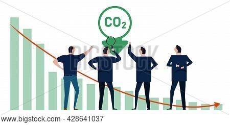 Reducing Co2 Carbon Emission Leader Agree Pollution Reducing Working Together Cooperation