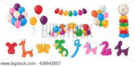 Animal Balloons. Cartoon Kids Party Helium Spheres. Birthday Decoration Of Glossy Cute Toys. Festive