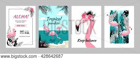 Flamingo Posters. Tropical Banners And Birthday Invitation To Summer Party With Pink Birds And Exoti